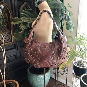 Isabella Fiore Oasis hobo saddle leather handbag